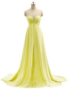 MicBridal Sweetheart Chiffon Beaded A-Line Floor Length Evening Dress with Train Yellow US6 - Brought to you by Avarsha.com