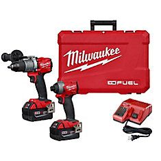 The Milwaukee Volt Cordless Lithium-Ion Combo Kit includes includes the FUEL Hammer Drill/Driver and FUEL Hex Impact Driver. The FUE Hammer Drill/Driver's brushless motor delivers 725 in-lbs of peak torque and up to 900 RPM for f Milwaukee Tools, Milwaukee M18, Cordless Hammer Drill, Cordless Tools, Driver Tool, Drill Driver, Thing 1, Reciprocating Saw, Crates