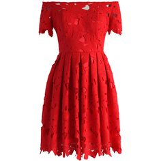 Chicwish Full Flower Cut Off-shoulder Red Dress ($68) ❤ liked on Polyvore featuring dresses, dress red, red, red floral dress, red lace dresses, off the shoulder dress, off the shoulder lace dress and floral cocktail dresses