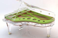 Design Piano: Fully transparent, glass piano, golden frame, multi color frame, painted rim, unique edition