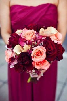 Burgandy bridesmaid dress, peach bouquet | brides of adelaide magazine