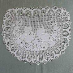 Vintage Filet Crochet Pattern Chair Back&Oval Doily Birds&Roses