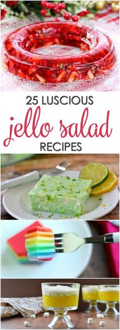 25 Luscious Jello Salad Recipes - including classic and modern versions of your favorite gelatin dishes(Healthy Bake Goods) Jello Fruit Salads, Jello With Fruit, Dessert Salads, Gelatin Fruit Salad Recipe, Strawberry Jello, Fruit Salad Recipes, Jello Gelatin, Gelatin Recipes, Jello Recipes