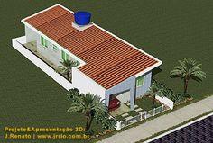 Vista da casa com área de afastamento lateral   Corredor externo