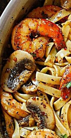 food pasta recipes white wines Pesto Shrimp Fettuccine with Mushroom Garlic Sauce Shrimp Fettuccine, Pesto Shrimp, Seafood Pasta, Seafood Dinner, Recipes With Fettuccine Noodles, Cooked Shrimp, Fish Recipes, Seafood Recipes, Chicken Recipes
