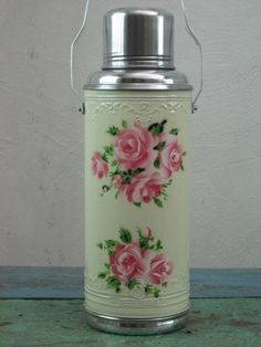 Thermos flask bottle isolation flasche chinese yellow roses cream  1.2 l   | eBay