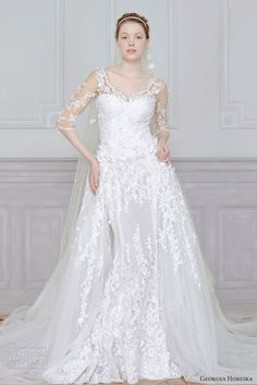 heath gown with full over skirt and illusion 3/4 sleeves. by Georges Hobeika