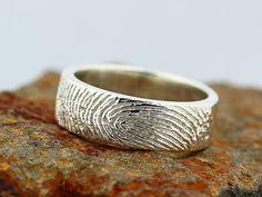 Your Custom Fingerprint Ring - Sterling Silver Engraving Wedding Band - non blackened,6mm, finger print    209