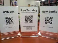 For school counseling, use QR codes for newsletters, reminders, scholarship updates.This would be a wonderful way to share information easily from the front office. High School Counseling, Elementary School Counselor, Elementary Schools, Primary Education, High Schools, Teen Library, Library Ideas, School Library Design, School Displays