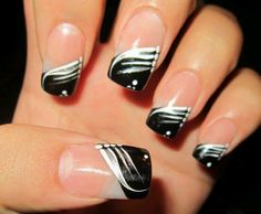 French tip acrylics with design on the ring finger the extra this simple french manicure is embellished with silver and white decorative stripes this mani is sleek and beautiful prinsesfo Gallery