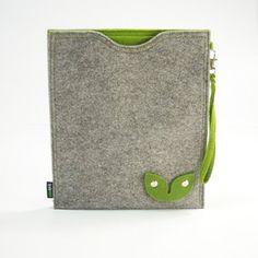 New Grey iPad Case Snap Buckles Earphone Organizer Felt ipad case ipad sleeve iPad1 2 3-E551. $22.00, via Etsy.