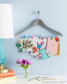 Limited on space? Create an unconventional memo board to stay stylishly organized. (Link in bio.) #HobbyLobbyMade