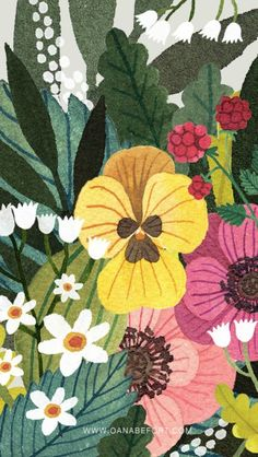 illustration by Oana Befort Art Floral, Motif Floral, Floral Prints, Art Prints, Art And Illustration, Pattern Illustration, Botanical Illustration, Plant Art, Paper Plants
