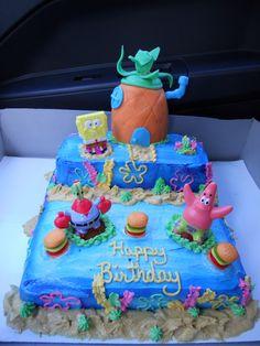 Sponge Bob birthday cake with gummie burgers.