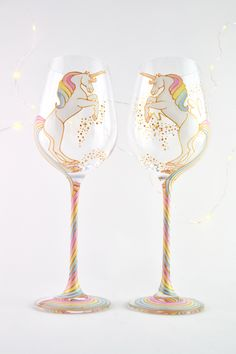 Long Tail Unicorn Wine Glass by ToastedGlass on Etsy https://www.etsy.com/listing/490615276/long-tail-unicorn-wine-glass