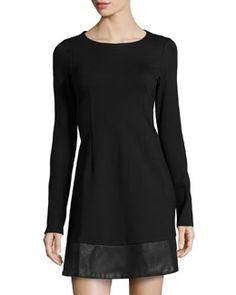TA55Y JB by Julie Brown Clarise Faux-Leather Trimmed Ponte Dress, Black