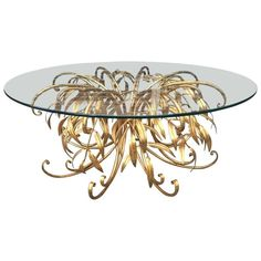 Italian Gilt Metal Floral Coffee Table | From a unique collection of antique and modern coffee and cocktail tables at https://www.1stdibs.com/furniture/tables/coffee-tables-cocktail-tables/