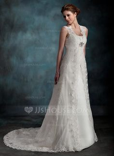 Corte A/Princesa Escote redondo Cola corte Tul Vestido de novia con Volantes (002001296) - JJsHouse