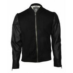 Based on a traditional sports jacket with classic rib collar. Motorcycle Jacket, Bomber Jacket, Sports Jacket, Menswear, Leather Jacket, Today's Outfit, Black Jackets, Sewing Ideas, Outfits