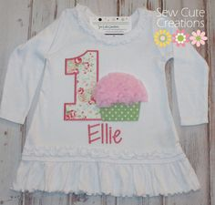 Personalized Chiffon Cupcake with number candle birthday Dress Girls long sleeve custom embroidered boutique sew cute creations