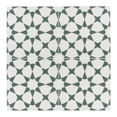 This cement tile is a green and white tile with a geometric design. This concrete tile offers a modern feel for your space. Shop the Estrella Green tile today. Picture Tiles, Black And White Tiles, Diy Tile Shower, White Tiles, Carpet To Tile Transition, Cement Tile, Green Tile, Cement Tiles Bathroom, Geometric Tiles