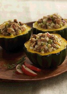 Sausage and Apple-Stuffed Acorn Squash.  This is such a great way to cook acorn squash. I love the combination of the spicy sausage and the sweetness of the apples.