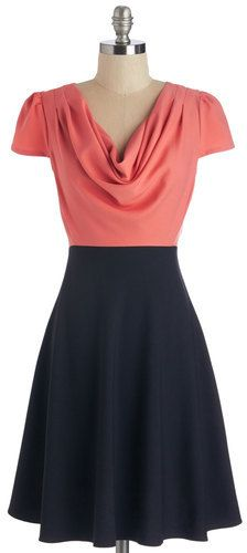 Louche Gondola Engagement Dress in Coral and Black - dress for pear body shape