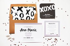 Modern Hand Lettered Bridal Shower Invitations // by JayAdores Design Co, via Oh So Beautiful Paper