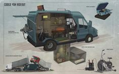 Feng Zhu Design Apocalypse World, Apocalypse Art, Underground Shelter, Cool Car Drawings, Post Apocalyptic Art, Zombie Apocalypse Survival, Bug Out Vehicle, Cargo Van, Survival Shelter