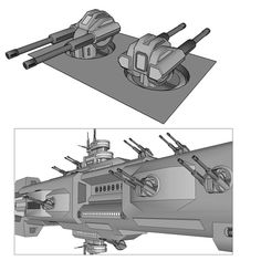 Environment concept for a high speed endo-atmospheric supersonic one-man fighter aircraft. The TRSF Interceptor is a high performance air superiority fighter capable of engaging targets using. Fantasy Weapons, Sci Fi Weapons, Gun Turret, Starship Concept, Future Weapons, Spaceship Design, Concept Ships, Weapon Concept Art, Star Wars Ships