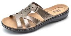 Clarks LEISA PLUM Metallic Pewter Slides Sandals Slip-Ons Women's 8 - NEW  #Clarks #Slides