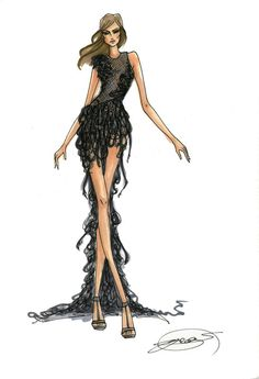 (••) Fashion Sketch: Textured high low gown