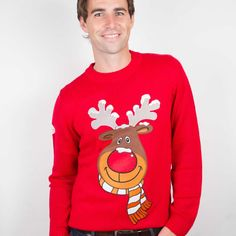 Rudolph the Reindeer Red Christmas Jumper. Funky Christmas Jumpers includes our famous Rudolph jumper in funky and bright red. Funny Christmas Jumper, Reindeer Christmas Jumper, Womens Christmas Jumper, Kids Christmas Ornaments, Christmas Jumpers, Holiday Sweater, Christmas Humor, Christmas Sweaters, Funky Glasses