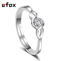 Fashion Luxury Crystal Cubic Zirconia Wedding Ring Women Silver Plated Jewelry