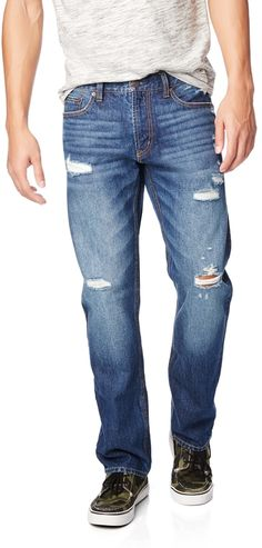 $49, Aeropostale Straight Destroyed Medium Wash Jean. Sold by Aeropostale. Click for more info: https://lookastic.com/men/shop_items/56317/redirect