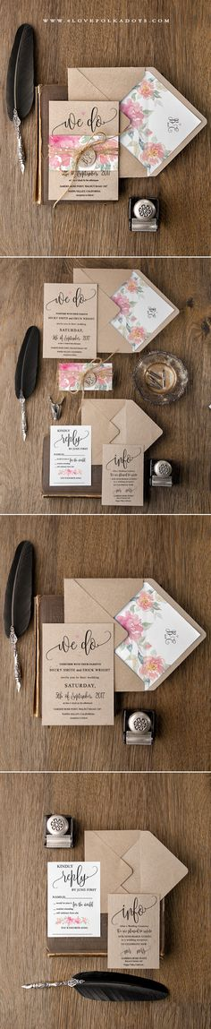 really like the unique layout on these  Watercolor Wedding invitation #summerwedding #boho #floral