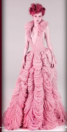"""""""Elizabeth"""" Couture Wedding Dress--- Entirely hand-knitted in 100% by Jemma Sykes certified organic wool.  By designer Jemma Sykes, Butcher Couture"""