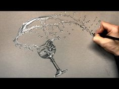 How I draw a Glass and Splashing Water with Pencil - Time Lapse Drawing - YouTube