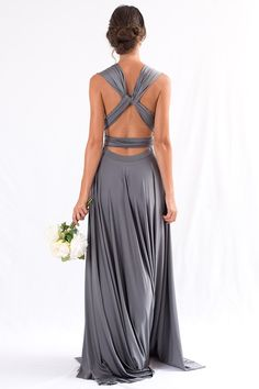 Charcoal grey bridesmaid dresses in multi-way and convertible style Wrap dress into any style. Luxe Multiway Infinity Dress in Charcoal