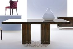 Air Fixed Dining Table in Glossy Ebony Finish by Costantini Pietro