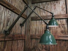 Pair Vintage Industrial Dazor Articulating by OldFactoryArtifacts Old Lights, Vintage Industrial Decor, Gas Station, Plates On Wall, Shades Of Green, Wall Sconces, Lamps, Arm, Bulb