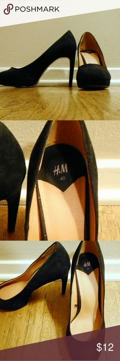 H&M black suede heels Size 8.5 hot black suede heels by H&M.  Very light wear on the soles only, otherwise mint.  A classic wardrobe staple. H&M Shoes Heels