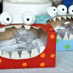 Cool party idea- from valentines box to silverware holder at a b-day party! Neato