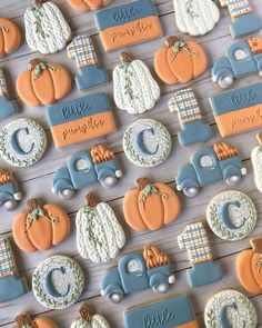 Oh what fun, a sweet little pumpkin is turning ONE!⁣ ⁣ Loved making these for the cutest little guy. Happy birthday Cooper, can't wait to celebrate!⁣ ⁣ Cookie cutters: Font: Stea (just trying to channel my inner ⁣ ⁣ Fall Decorated Cookies, Fall Cookies, Iced Cookies, Cute Cookies, Royal Icing Cookies, Cupcake Cookies, Pumpkin First Birthday, Fall Birthday, Happy Birthday