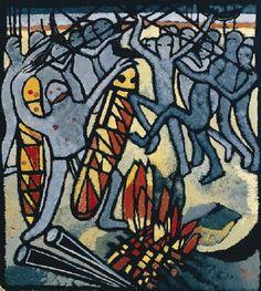 Aborigines Preparing for a fight. Gouache stencil on black paper Margaret Rose, Margaret Preston, Black Paper, Australian Artists, Native Art, Gouache, Printmaking, Lino Cuts, Ink