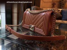 3c6117033bc8 Authentic Quality Perfect 1:1 Mirror Replica Chanel Tan Lambskin Chevron  Medium Le Boy Handbag
