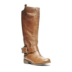 PEGGGIE COGNAC LEATHER women's boot flat casual - Steve Madden