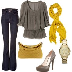 Grey and Yellow Cute outfit for pics