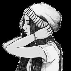 girl, drawing, sketch, hat, pretty - image #718860 on Favim.com