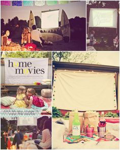 This would be a cute idea for a family get together... watch home video clips outside! Or you could do it for a 50th birthday or even anniversary!